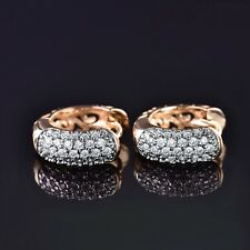Fashion White Sapphire Crystal Stunning 18K Gold Platinum Filled Hoop Earrings