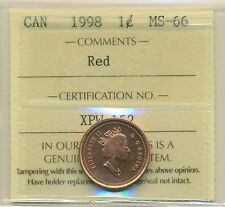 1998 Canada Small Cent Certified ICCS MS-66