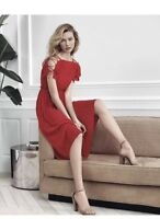 NWT Express Pleated Lace-Up Cold Shoulder Midi Dress RED SZ M/XS
