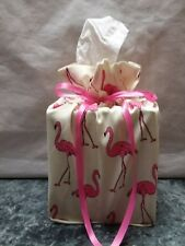 Lots of Pink Flamingos on ivory Cotton Fabric Handmade square Tissue Box Cover