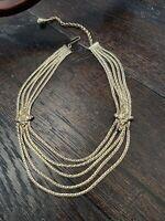 Vintage Unsigned Gold Tone Multi Strand Necklace Collar Piece ESTATE Jewelry