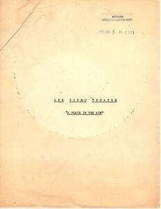 Lux Video Theatre Presents A PLACE IN THE SUN Original Script Blyth, Burr, Derek
