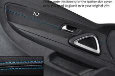 Azul Costura 2x Frontal Puerta Tarjeta Trim cubiertas de cuero se adapta a Vw Scirocco 08-14