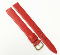 Hadley Roma France Genuine Leather Red Tone 10mm Gold Buckle Watch Band