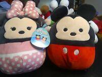 """NWT Disney Squishmallows Mickey & Minnie Mouse Set 8"""" Plush  Kelly Toy free ship"""