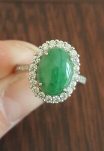 Genuine Bright Green 4.1ct Jadeite Jade(Type A) 925 Silver Ring SIZE AU M/US 6