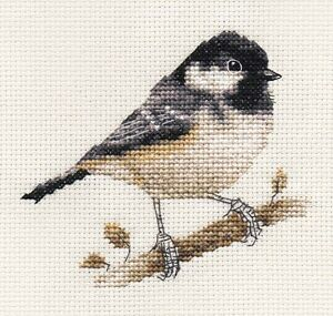 COAL TIT Garden Bird, Full counted cross stitch kit + all materials *Fido Studio