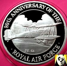 1998 TURKS AND CAICOS 20 Crowns SE 5A Royal Air Force RAF Silver Proof Coin