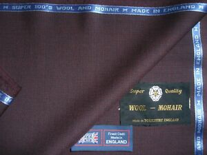 WOOL WORSTED & MOHAIR SUITING FABRIC - MADE IN ENGLAND – 3.4 m.