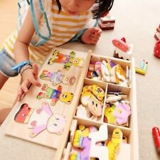 Wooden Baby Bear Changing Clothes Puzzle Set Children Kids Girls Playing Toys