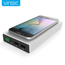 Vinsic 2 in 1 Qi 12000mAh Wireless Charger Charging Pad Portable USB Power Bank
