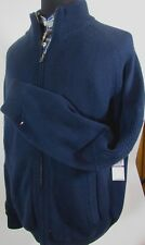 NWT Tommy Hilfiger Sweater Bomber Jacket Zip Front XXL Quilted Lining Navy Blue