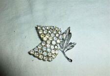 Vintage Rhodium plated rhinestone encrusted branch lapel dress Brooch pin