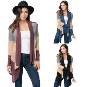 Womens Winter Loose Oversized Coats Long Sleeves Open Front Colorblock Cardigan
