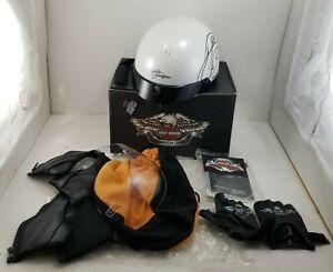 Harley Davidson Womens XXS Destination Half Helmet, Pearl White w/ Gloves, Box