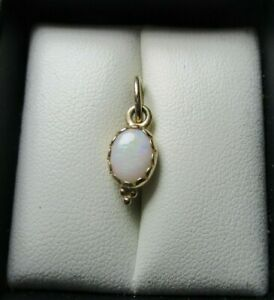 PANDORA pendant - solid 14ct / 14k Gold with white Opal - 350178WOP - RARE
