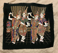 Vintage Thai Wall Hanging Painting on Dark Green Silk Thailand Dancers