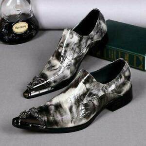 Spring Men Leather Pointy Toe Slip On British Style Party Dress Low-top Shoes Sz