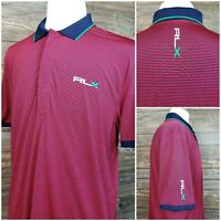 RLX Ralph Lauren Mens XL Short Sleeve Striped Performance Golf Polo Shirt EUC!