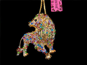 Betsey Johnson Bling Colorful Crystal Lion Pendant Women's Charm Coat Necklace