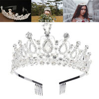 Crystal Wedding Tiara Bridal Crown Jewelry Prom Princess Queen Diadem with Comb