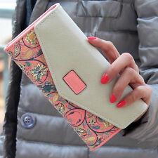 Pink Lady Leather Clutch Envelope Wallet Long PU Card Holder Case Purse Handbag