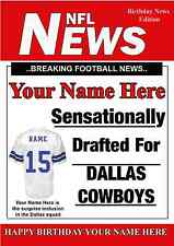 A5 Personalised Dallas Cowboys NFL American Football Birthday Card PIDOA1