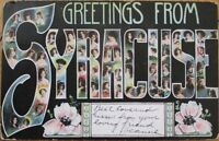 1907 Large Letter Art Nouveau Postcard: Greetings from SYRACUSE, New York NY