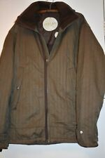 HOLDEN mens jacket parka snowboarding ski brown herringbone, leather accents