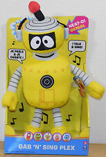 "Yo Gabba Gabba TALKING Singing PLEX ROBOT 14"" Plush Gab n Sing Spin Master NEW"