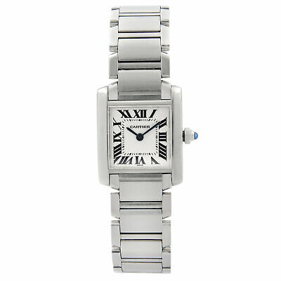 Cartier Tank Francaise 20mm Stainless Steel White Dial Ladies Quartz Watch 2300