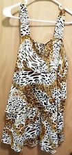 Unique Spectrum Womens Animal Print Ruffle Layer Knit Top Plus 1X Side Zipper