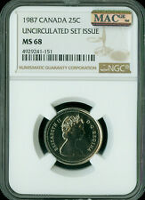 1987 CANADA 25 CENTS NGC MAC MS68 PQ 2ND FINEST REGISTRY SPOTLESS   *