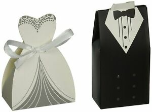 100 Pairs of Wedding Party Favor Boxes Creative Tuxedo Dress Groom Bridal Candy