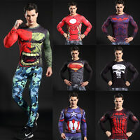 Men's Compression Marvel Superhero Tee T-Shirts Sportswear Bicycle Jersey Tops