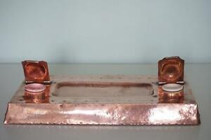 Birmingham Guild Of Handicrafts Copper Desk Stand Inkstand - c.1900
