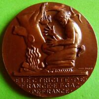 L@@k Art Deco Man & Fire French Electricity and Gas Bronze Medal by DROPSY!