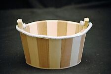 Mini Wooden Tub Planter w Rope Handle Two Tone Wood Hand Crafted Great Displays