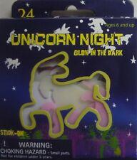 24 x Glow in the Dark Pink & White Stick on Unicorns & Stars Up to 7 cm