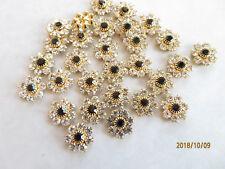 J100 - 72 Swarovski 11mm Crystal & Jet Rhinestone Gold Plated Flower Components