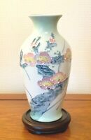 VINTAGE JAPANESE  PORCELAIN VASE HAND PAINTED 10.5 IS TALL