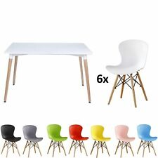 Eiffel Dining Set Table Rectangle Large + 6 Alessia Chair Ribbed DS White Black