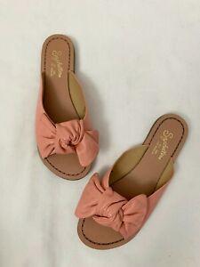 Seychelles Childlike Enthusiasm Pink Leather Knot Sandals Slides Size 8