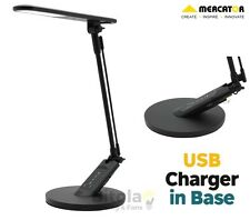 NEW MERCATOR FLICK 5w LED TOUCH DESK LAMP WITH TIMER & USB CHARGING PORT BLACK