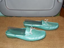 60's 70's Loafers Shoes Vintage KELLY & KATIE Shimmery Blue Slip Low Heel 9.5 M