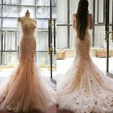 Fairy Tale Blush Mermaid Wedding Dresses Applique Flowers Sweetheart Bridal Gown