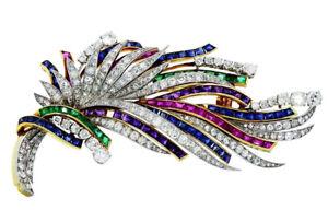 3.90ct Round Diamond 14K Yellow Gold Amethyst Emerald Sapphire Ruby Brooch Pin