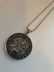 Vegvisir - Viking Runic Compass - Pendant Charm with rope chain - new and bagged