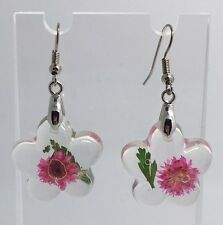 Large Pink Real Flower Earrings Resin Cast  Kitch Bright Silver Plt D342