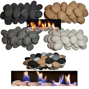 Pack of 10 pebbles/Stones White/Black/Grey/Beige gas fires, fires, LPG & Bio
